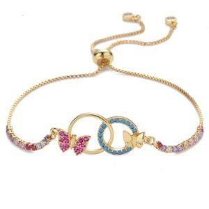 Yellow Gold Butterly CZ Adjustable Bracelet